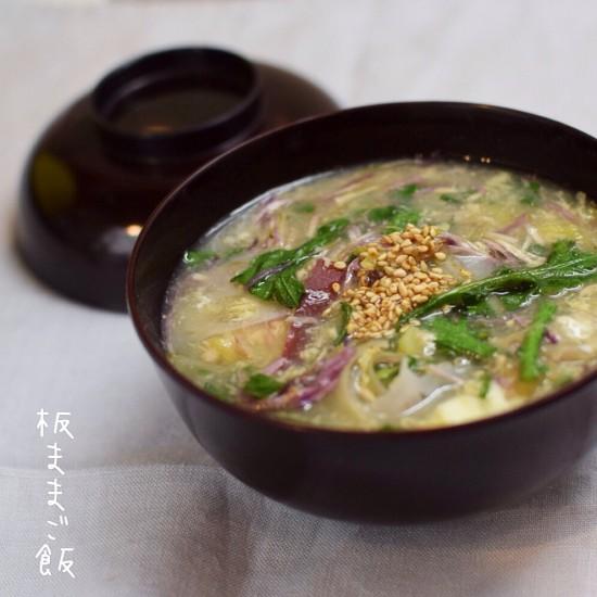 根菜たっぷりストックツナのとろみスープ